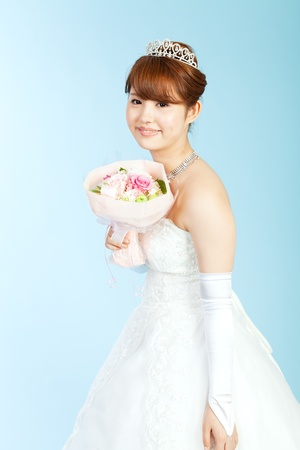 Beautiful asian woman dressed as a bride Stock Photo - 13406782