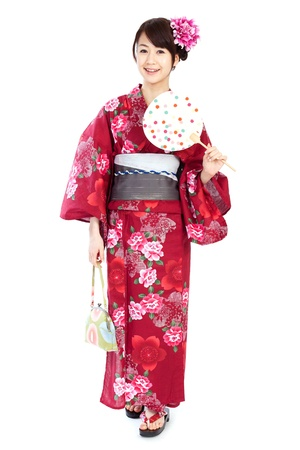 japanese kimono: Beautiful kimono woman Stock Photo