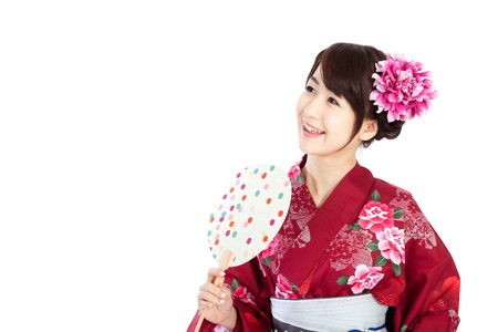 Beautiful kimono woman Stock Photo - 13406806