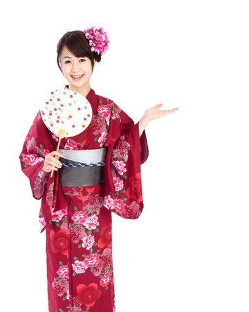 yukata: Beautiful kimono woman Stock Photo