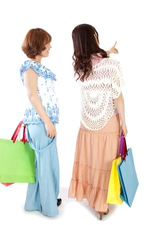 shopaholics: Beautiful shopping women Stock Photo