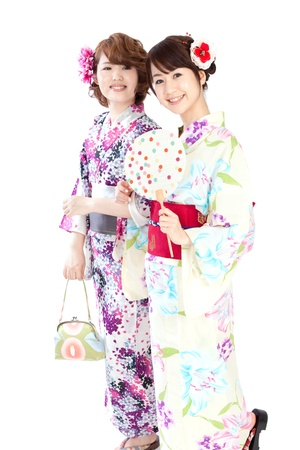 japanese kimono: Beautiful kimono women  Portrait of asian women  Stock Photo