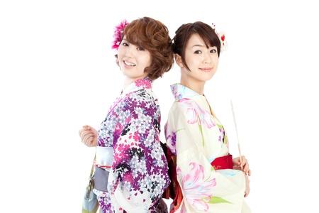 Beautiful kimono women  Portrait of asian women  Stock Photo