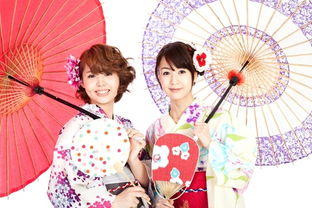Beautiful kimono women  Portrait of asian women  免版税图像