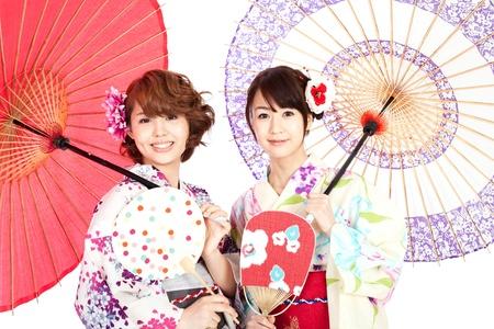 kimono: Mujeres kimono hermoso Retrato de mujeres asi�ticas Foto de archivo