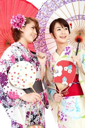 traditional festivals: Las mujeres kimono hermoso Retrato de mujeres asi�ticas Foto de archivo