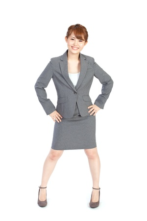 gray suit: Beautiful business woman