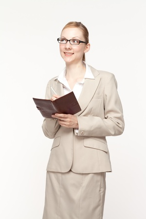 Beautiful business woman on white background photo