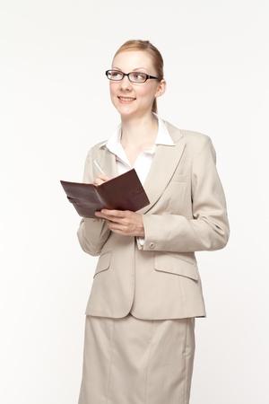 Beautiful business woman on white background photo