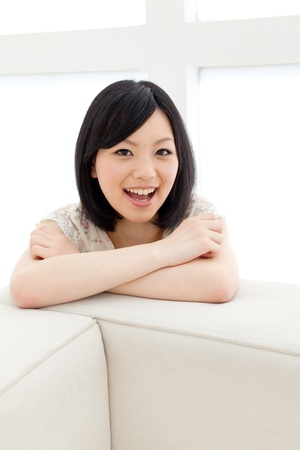 asian natural: Beautiful young woman relaxing living room Stock Photo