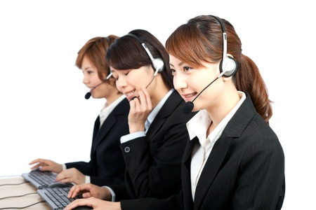 call center office: Beautiful business operator  Portrait of asian woman