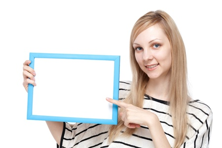 russian woman: Beautiful young woman with message board