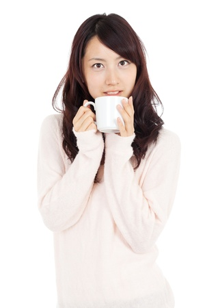 Beautiful young woman drinking coffee  Portrait of asian woman  photo