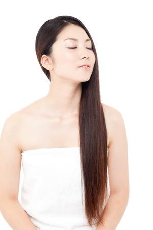 Beautiful hair woman on white background Stock Photo - 15249194