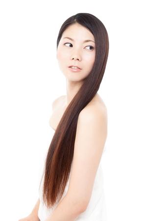 black women naked: Beautiful hair woman on white background