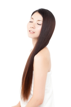 Beautiful hair woman on white background Stock Photo - 15249185