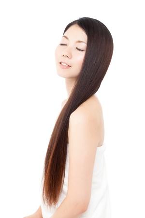 naked girl black hair: Beautiful hair woman on white background