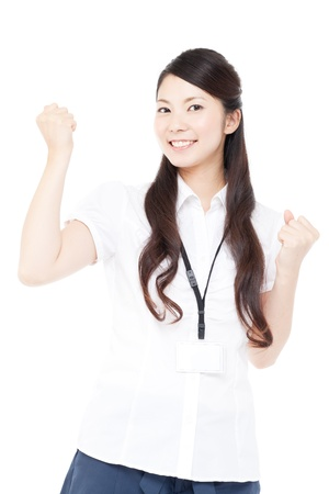 Beautiful young business woman showing hand gesture photo