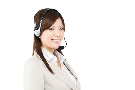 operators: Beautiful business operator on white background