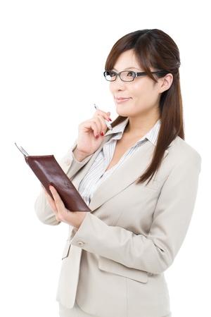 Beautiful businesswoman on white background photo