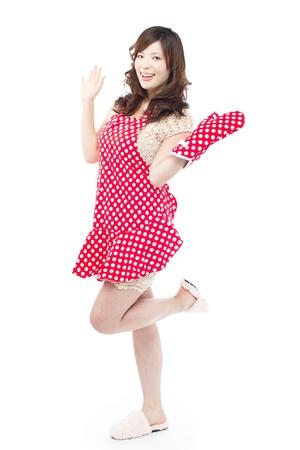 aprons: Beautiful young woman wearing an apron