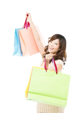carrying: Beautiful shopping woman