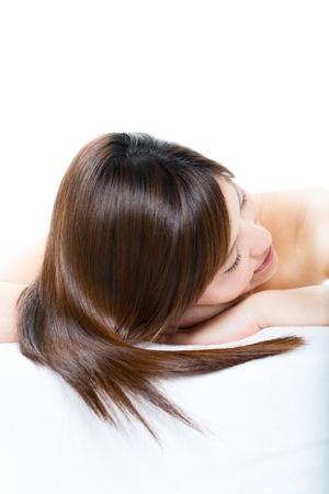 Beautiful hair woman on white background photo