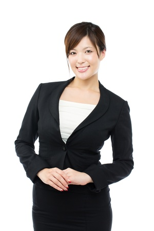 Beautiful businesswoman on white background photo