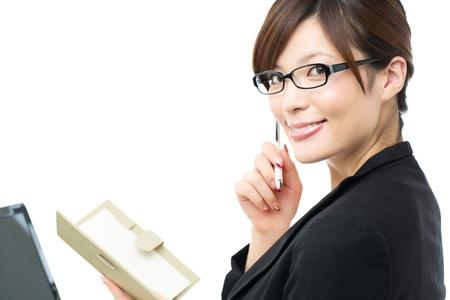 白い背景の上の美しい女性実業家