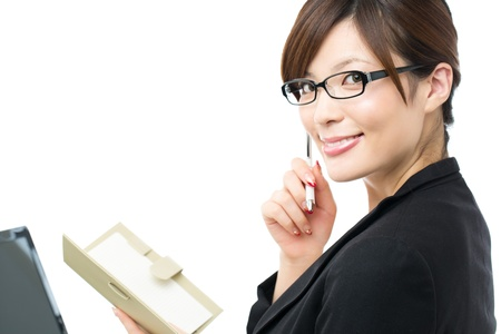 korean woman: Beautiful businesswoman on white background Stock Photo
