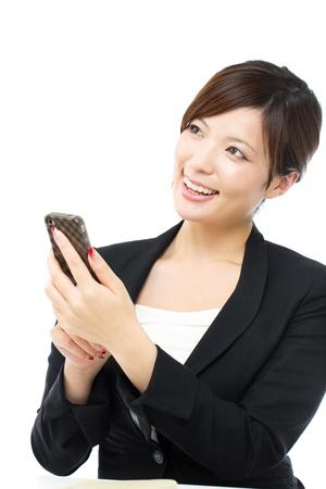 Beautiful businesswoman on white background Stock Photo