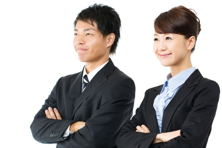 Young asian smiling business woman and businessman photo