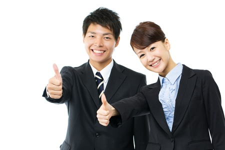 korean woman: Young asian smiling business woman and businessman