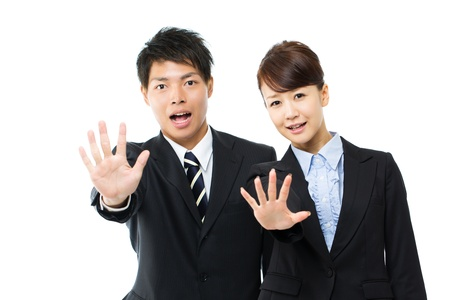 stop gesture: Young asian smiling business woman and businessman