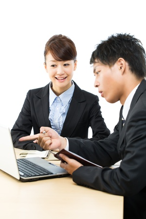 two companies: Young asian smiling business woman and businessman