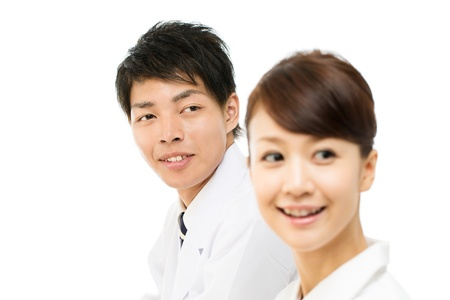 asian nurse: Asian young medical doctor isolated on white background