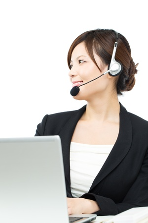 Beautiful asian business operator on white background photo