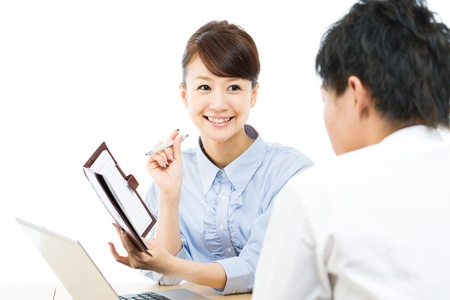 Young asian smiling businesswoman and businessman photo