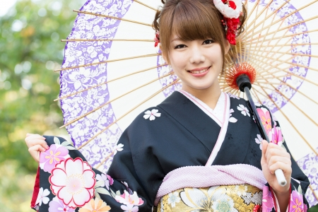 Beautiful japanese kimono woman photo