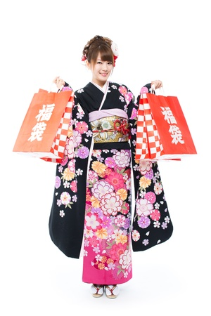 Beautiful japanese kimono woman Stock Photo - 16433019