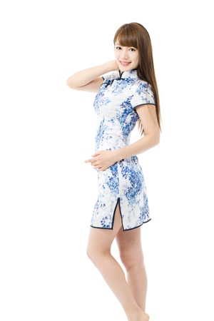 Beautiful asian woman in traditional chinese clothing on white background Banco de Imagens