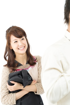 Asian sweet young couple smiling together photo