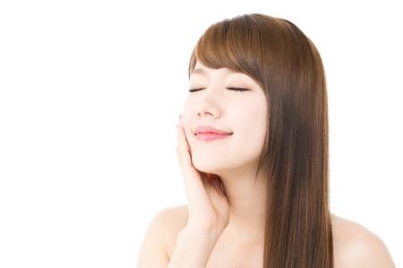 白い背景の上の美しい若い女性 写真素材 - 16336517