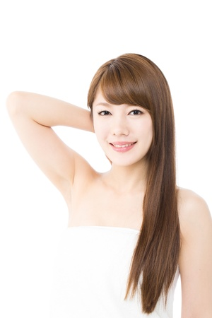 korean woman: Beautiful young woman on white background