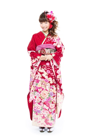Beautiful japanese kimono woman Stock Photo - 16470435