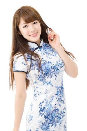 Beautiful asian woman in traditional chinese clothing on white background Stock Photo - 16470384