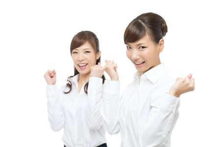 Beautiful asian businesswomen on white background photo