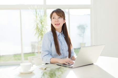 Beautiful asian businesswoman using a laptop computer photo