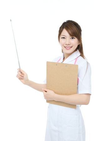 Beautiful asian nurse on white background Banque d'images