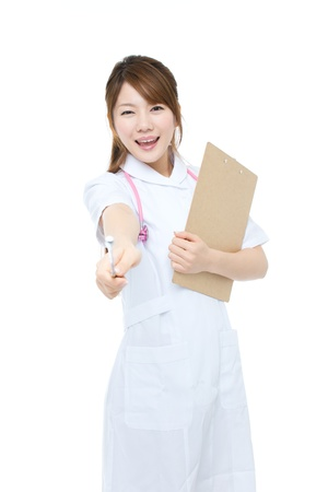 Beautiful asian nurse on white background photo